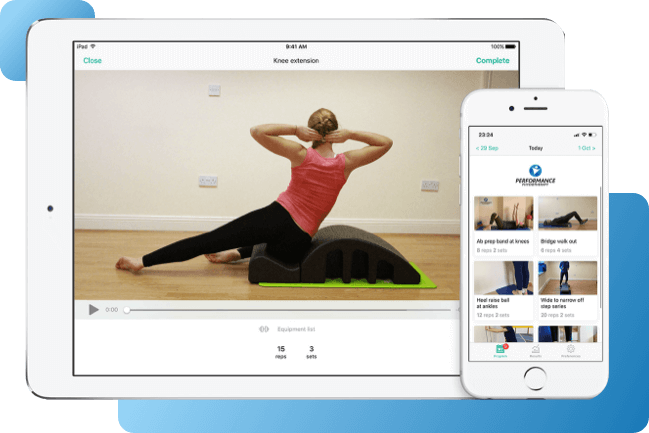 Representation of the PhysiApp by Performance Physiotherapy superimposed on a tablet and mobile